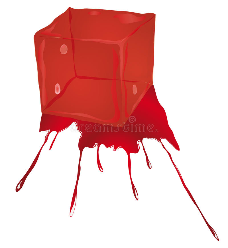 Isolated Bloody Ice Cube Stock Photo