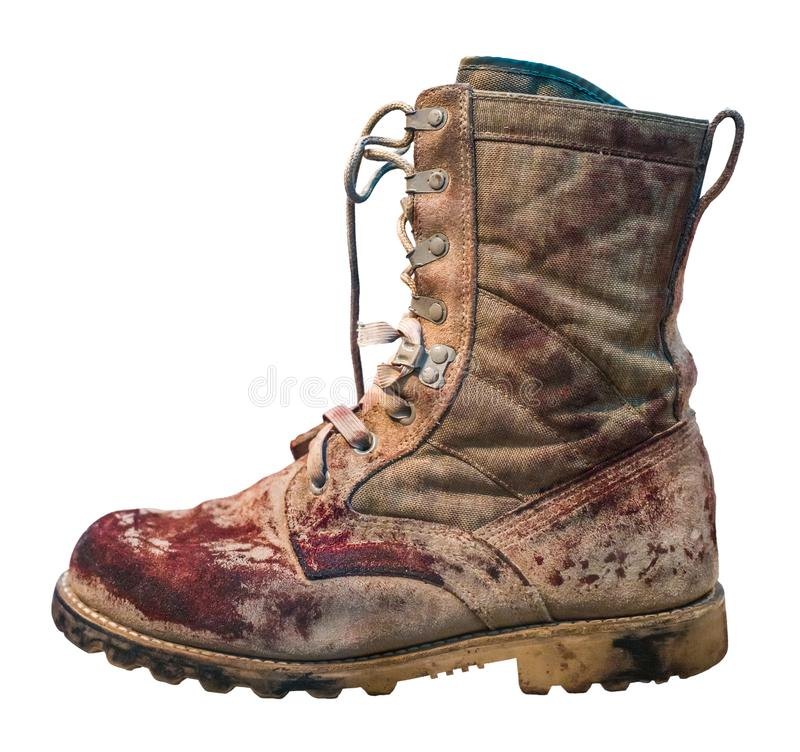 Isolated Bloody Military Boot royalty free stock images