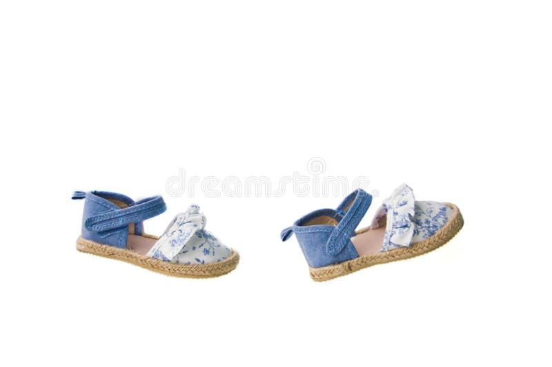 Isolated blue baby shoes stock images