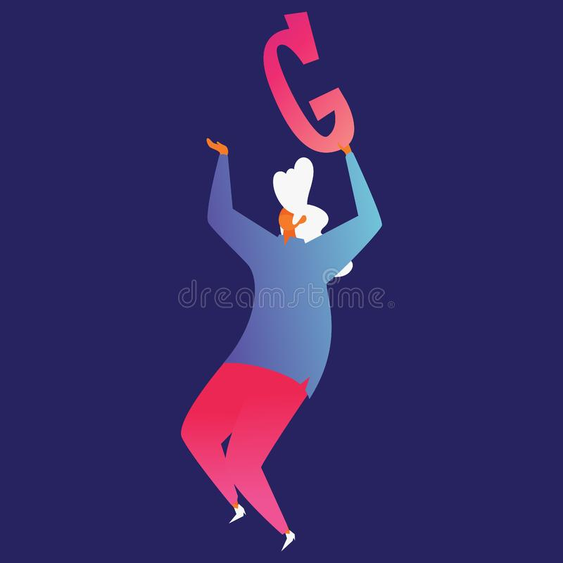Isolated on blue background modern woman charater holding letter G in hands and dancing.  stock illustration