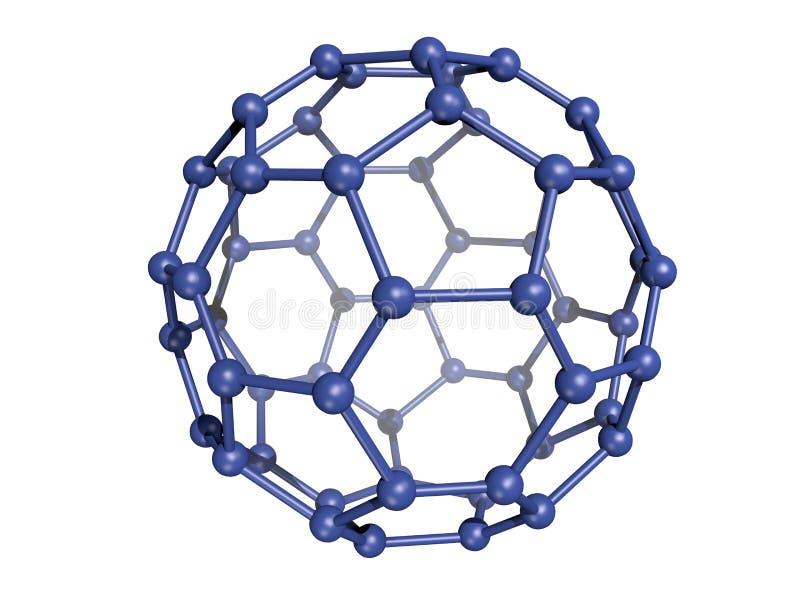 Isolated Blue C60 Fullerene stock image