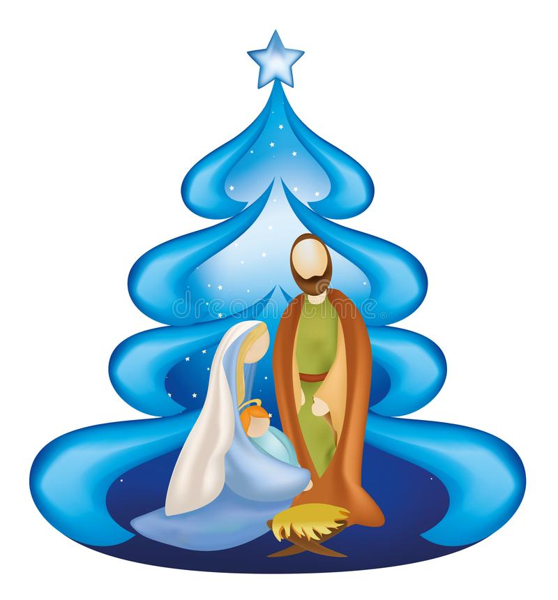 Isolated Christmas tree nativity scene with Joseph and baby Jesus in Mary`s arms vector illustration