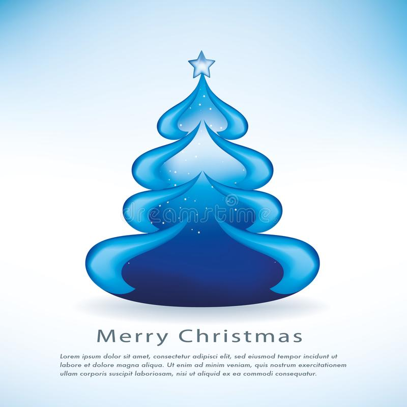 Isolated blue Christmas vector tree with stars in the background and a star on top vector illustration