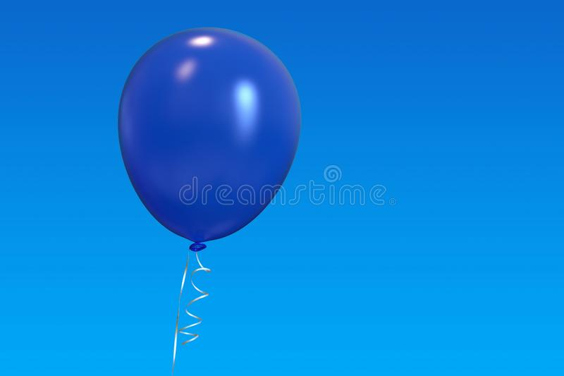 Single helium balloon with ribbon on blue sky. Isolated blue helium balloon with shiny ribbons, floating in the blue sky. Celebration, joy, freedom, party royalty free stock images