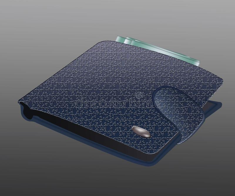 Isolated blue men`s wallet with money on a background.  royalty free illustration