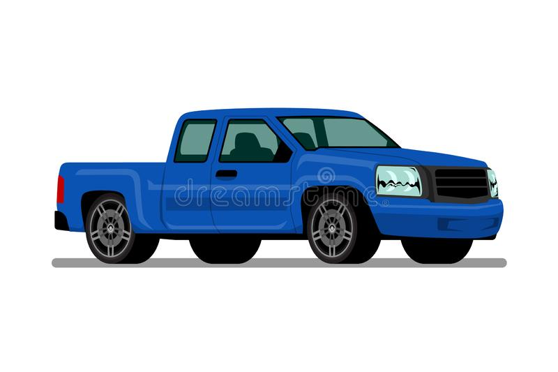 Isolated blue pickup truck, diesel engine vehicle on white background. vector illustration