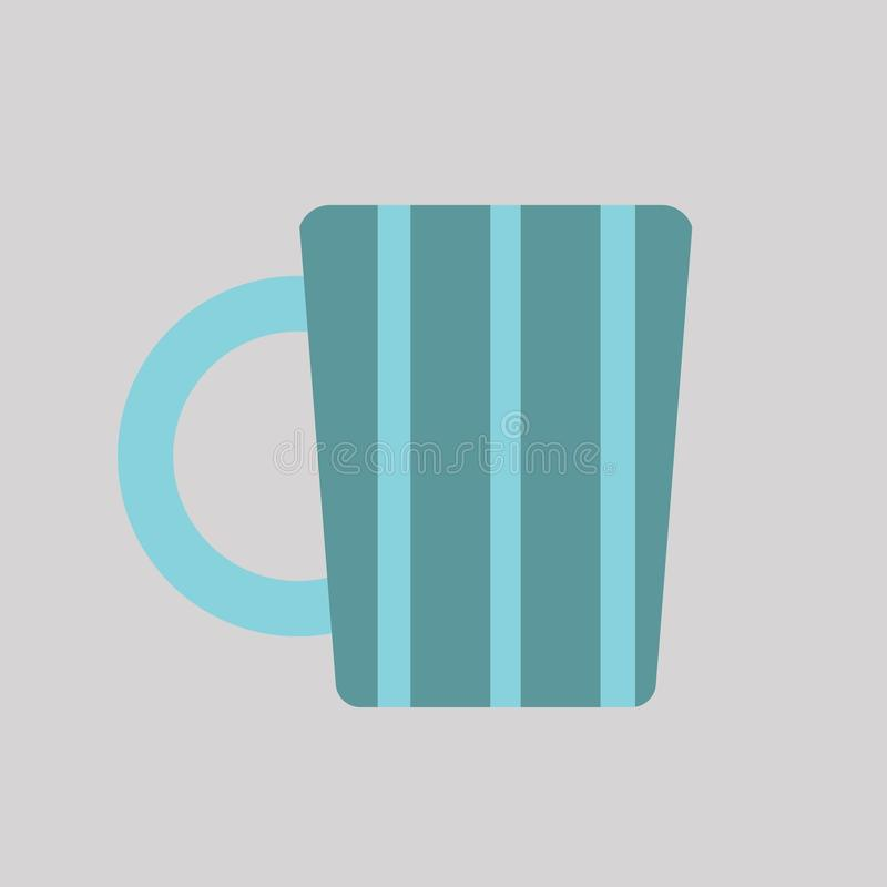 Blue Striped Mug Icon Isolated Vector. Isolated blue striped mug icon in front of a light grey background stock illustration