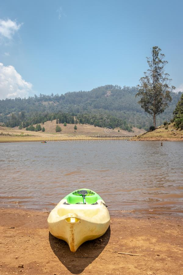 Isolated boat for lake adventure. Image is taken at echo village kodaikanal showing the nature love of human royalty free stock photo
