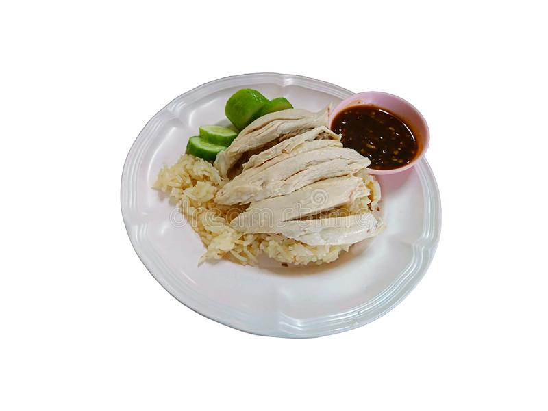 Isolated Boiled chicken and rice on a white background with clipping path royalty free stock photo