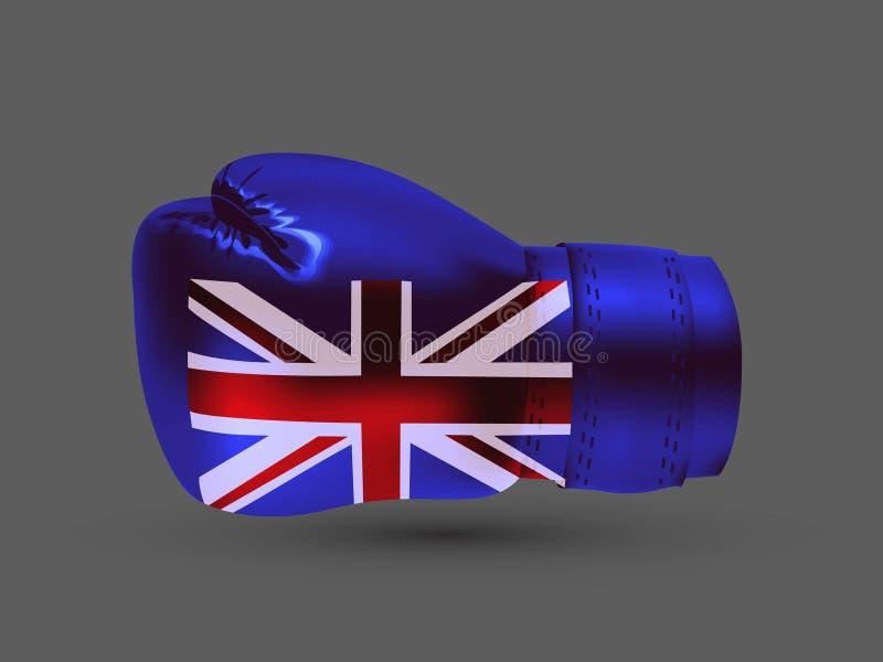 Isolated boxing glove United Kingdom flag realistic 3d stock illustration
