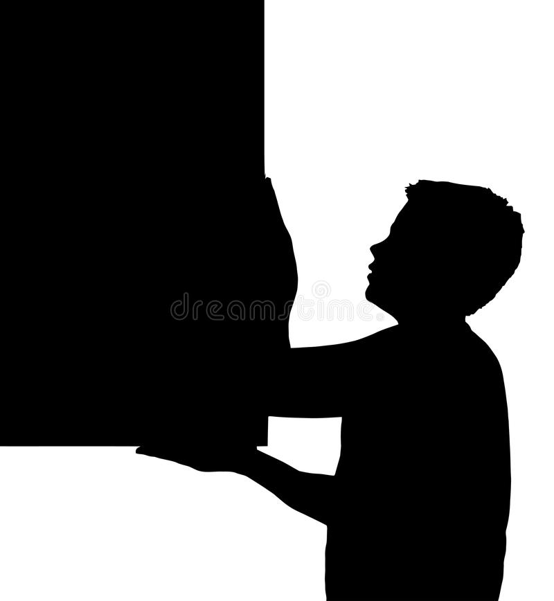 Isolated Boy Child Gesture Carrying Large Frame stock photos