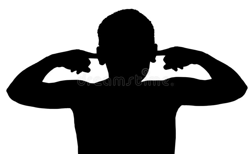 Isolated Boy Child Gesture Not Listening royalty free illustration