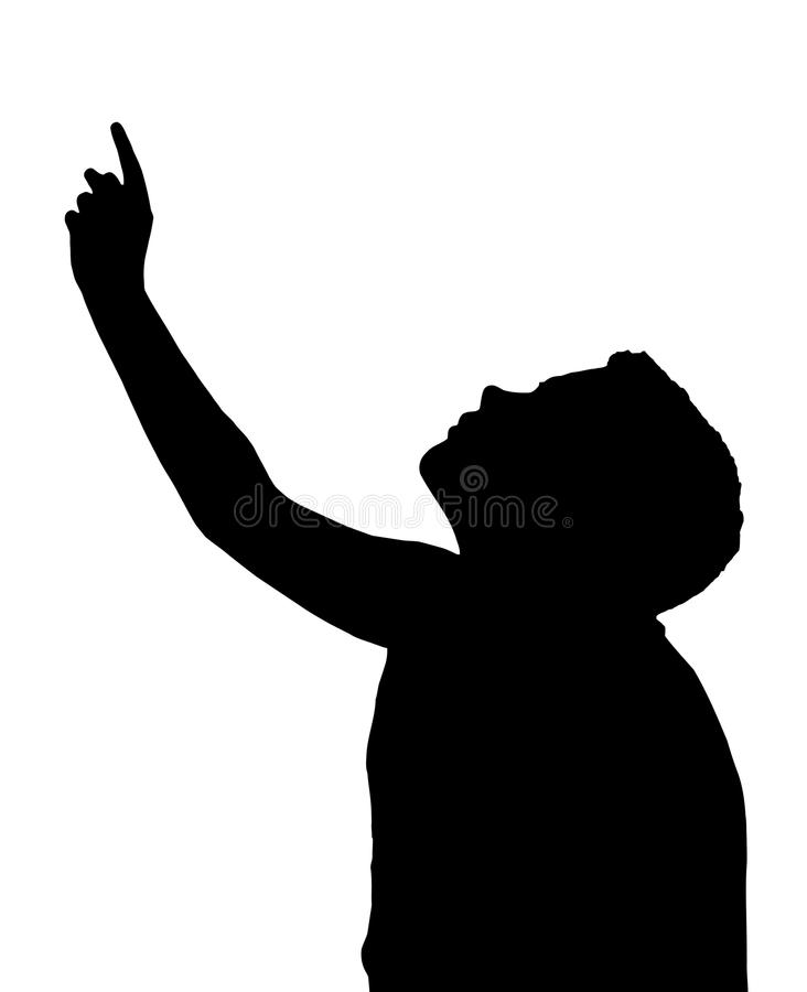 Isolated Boy Child Gesture Pointing Upwards vector illustration