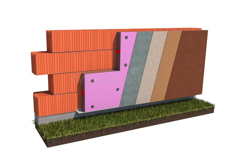 Isolated brick wall thermal insulation concept on white background 3d illustration stock photography