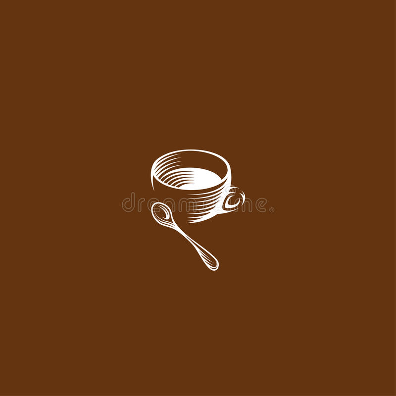 Charity Logo With Hand In Square: Isolated Brown Color Cup In Retro Style Logos Set