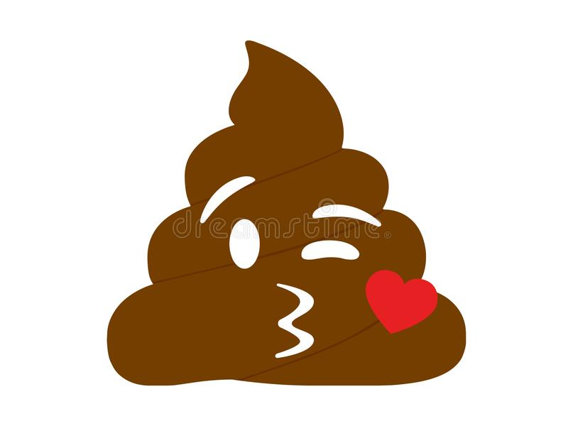 Isolated brown dung with kissing mouth and heart flat icon. The isolated brown dung with kissing mouth and heart flat icon stock illustration