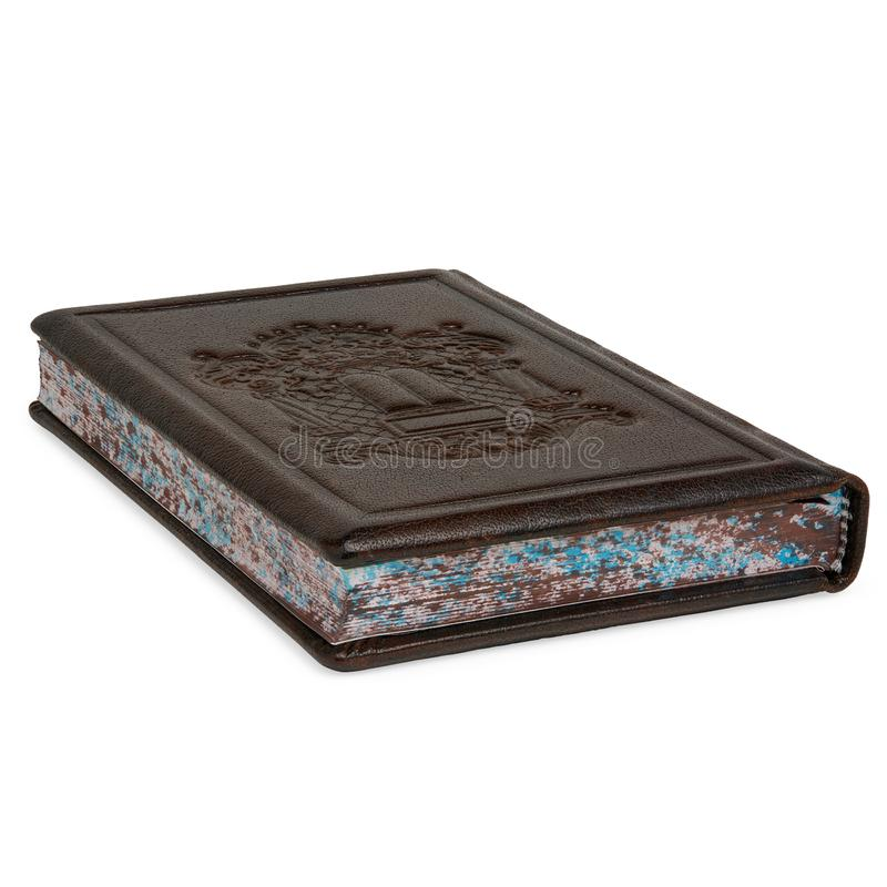 Isolated Brown Leather Prayer Book Siddur Lying Down on White royalty free stock images
