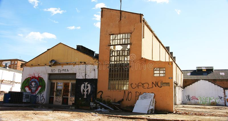Isolated building in a wasteland of Pueblo Nuevo, Barcelona stock images