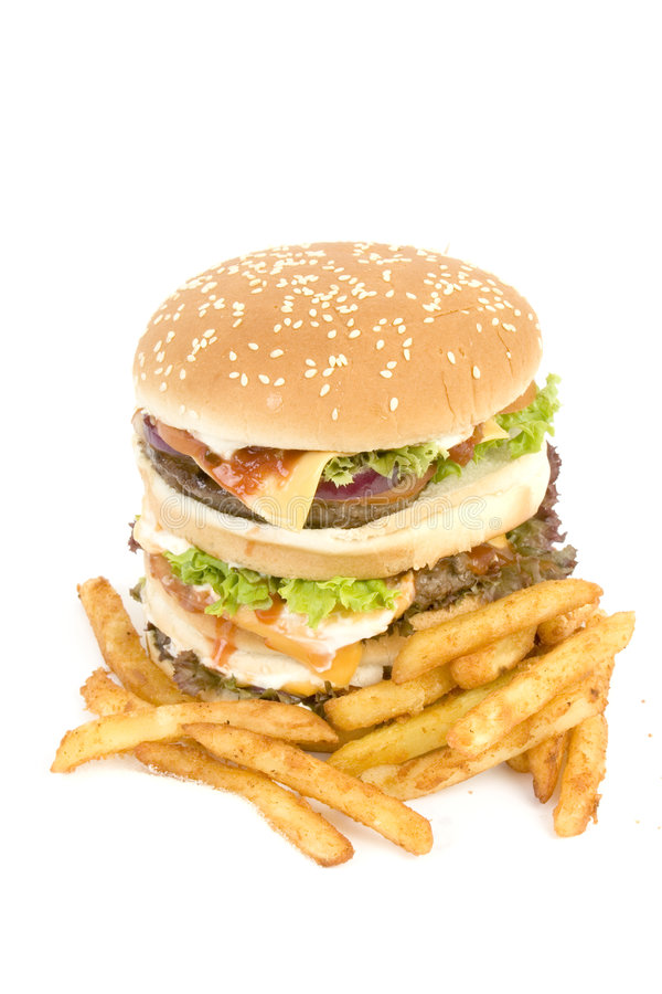 Download Isolated burger with fries stock photo. Image of unhealthy - 1577940
