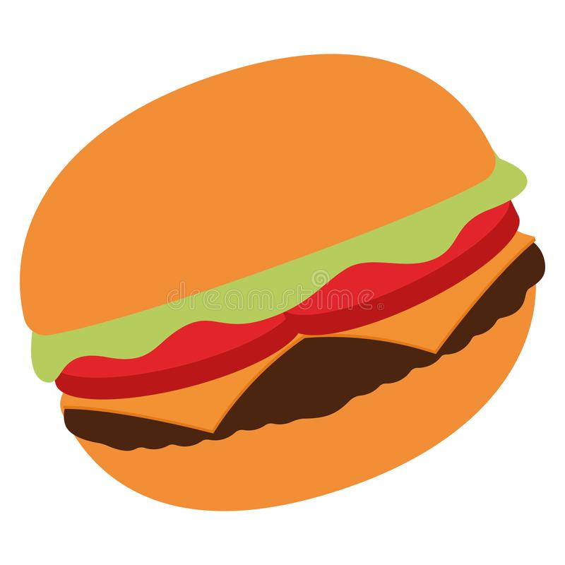 Isolated burger image. On a white background - Vector vector illustration