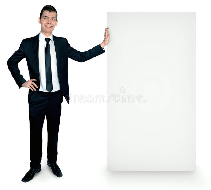 Isolated business man with board royalty free stock image