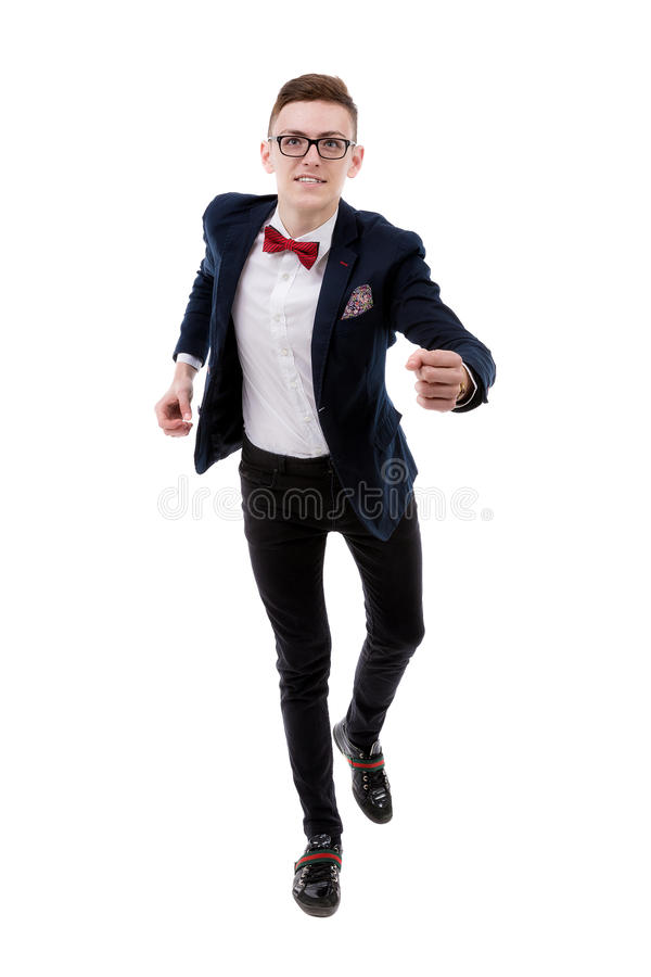 Isolated business man run to camera stock photos