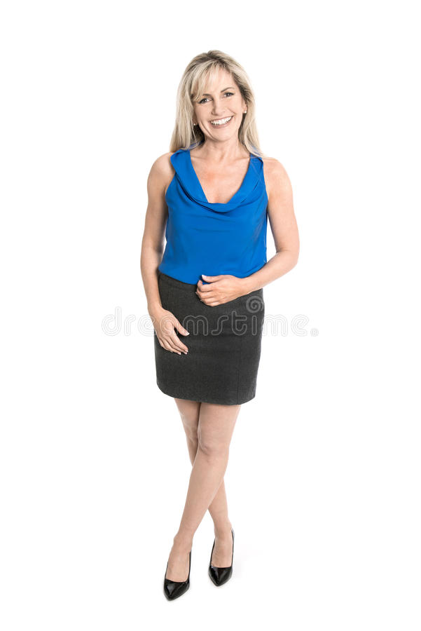 Isolated business woman in full body length. stock images
