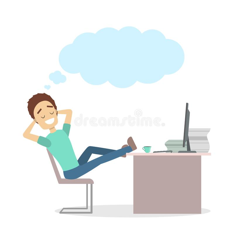 Isolated businessman dreaming. Isolated businessman dreaming at work place on white stock illustration