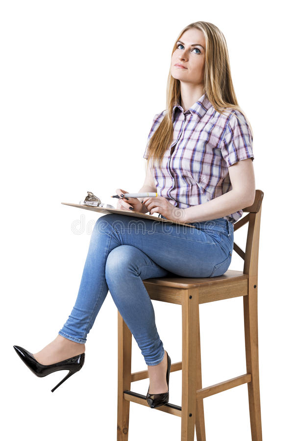 Isolated businesswoman on chair royalty free stock photo