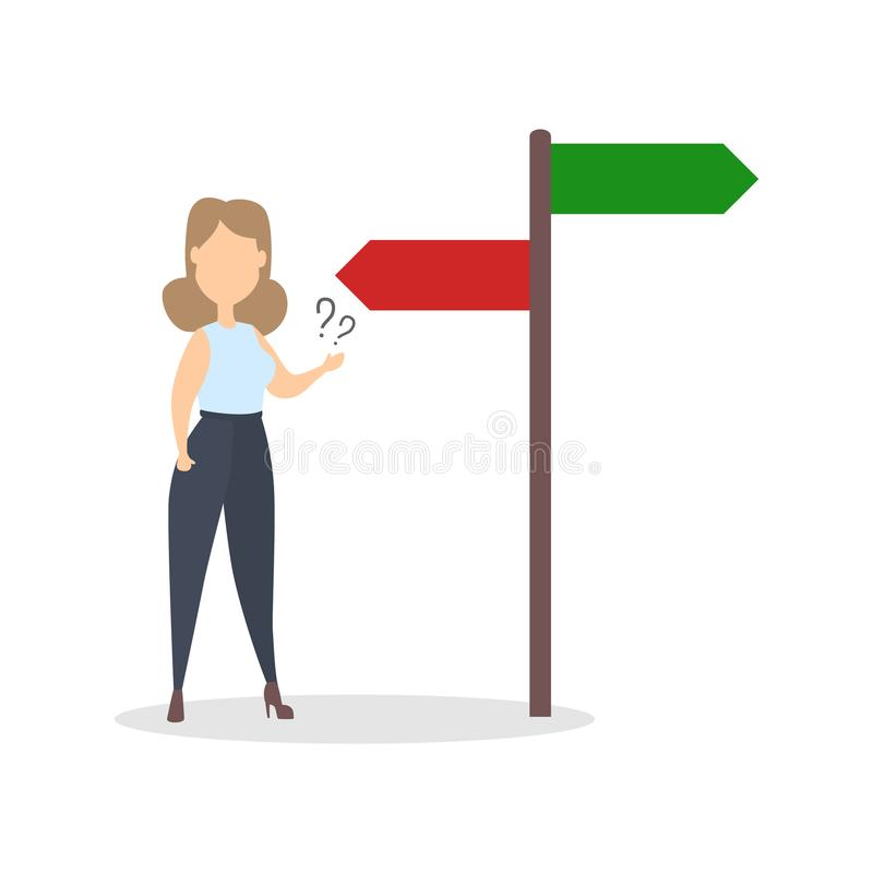 Isolated businesswoman choosing. stock illustration
