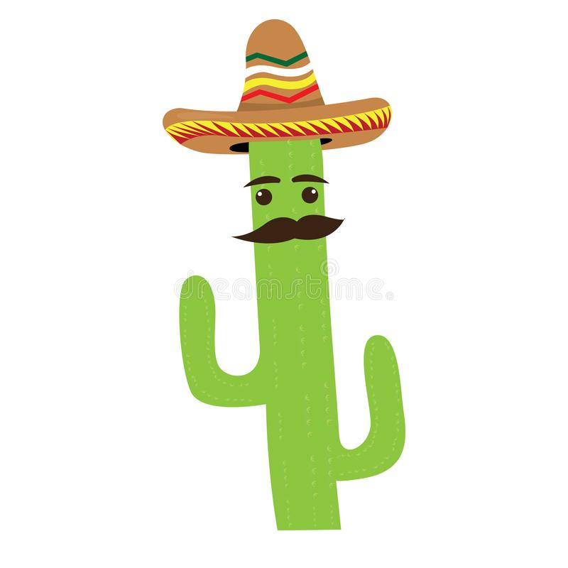 Isolated cactus cartoon with a mexican hat vector illustration
