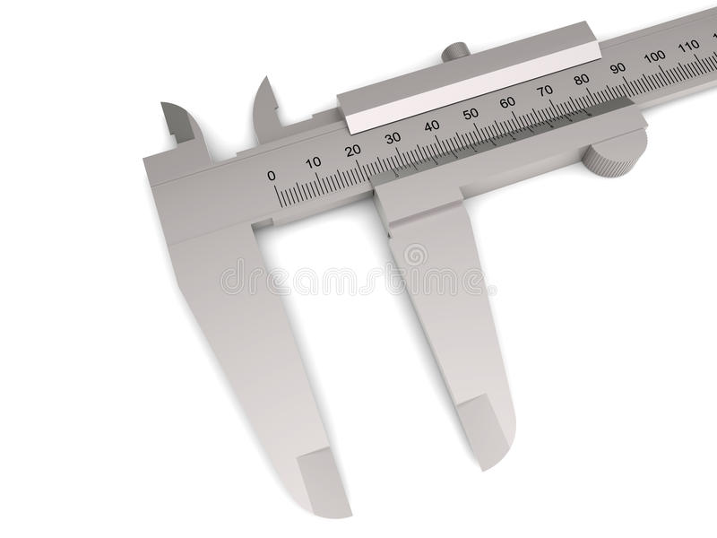 Isolated calipers. 3D rendered illustration close-up of a pair of calipers isolated on a white background with soft shadows vector illustration