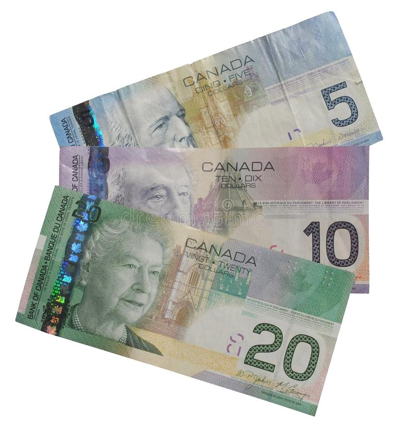 Isolated Canadian Money. Front view of Canadian $5, $10, and $20 bills