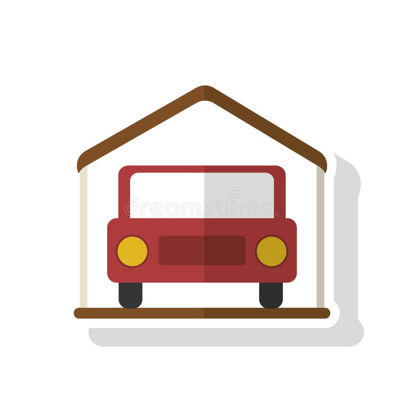 Isolated car inside house design. Car inside house icon. Real estate construction property and investment theme. Isolated design. Vector illustration stock illustration