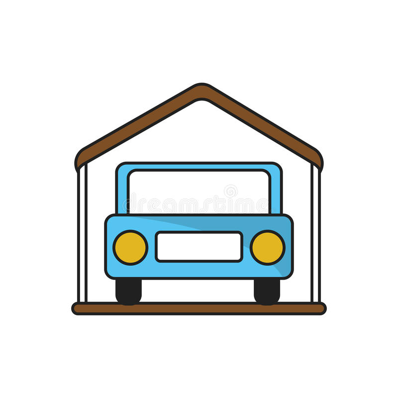 Isolated car inside house design. Car inside house icon. Real estate construction property and investment theme. Isolated design. Vector illustration royalty free illustration