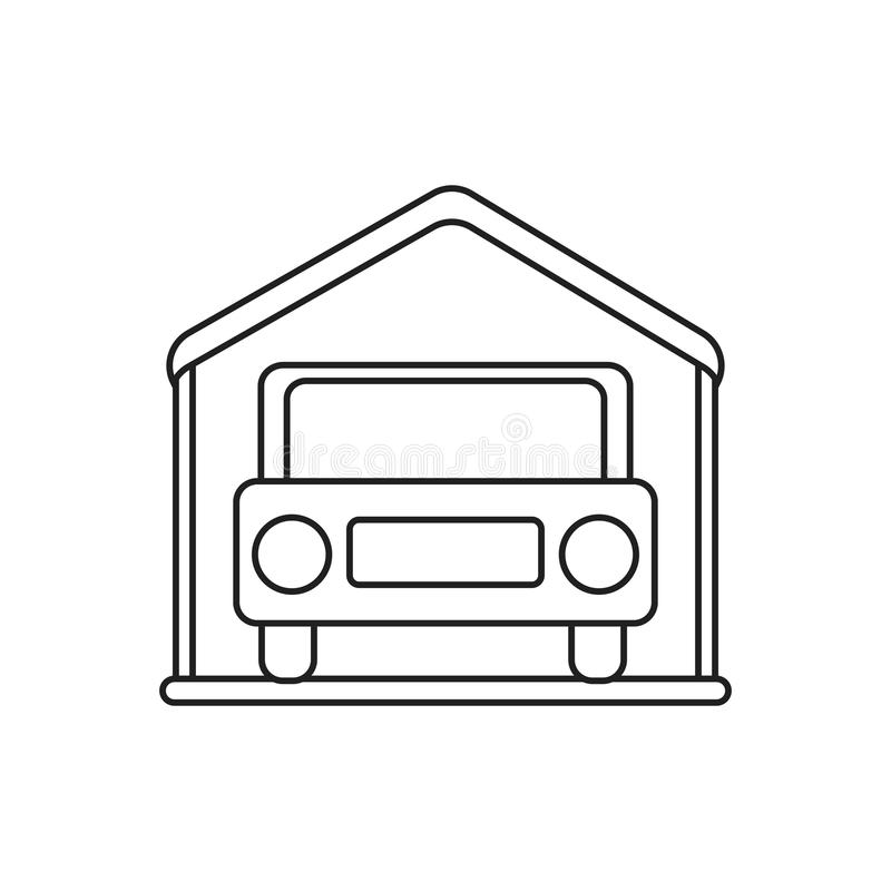 Isolated car inside house design. Car inside house icon. Real estate construction property and investment theme. Isolated design. Vector illustration vector illustration