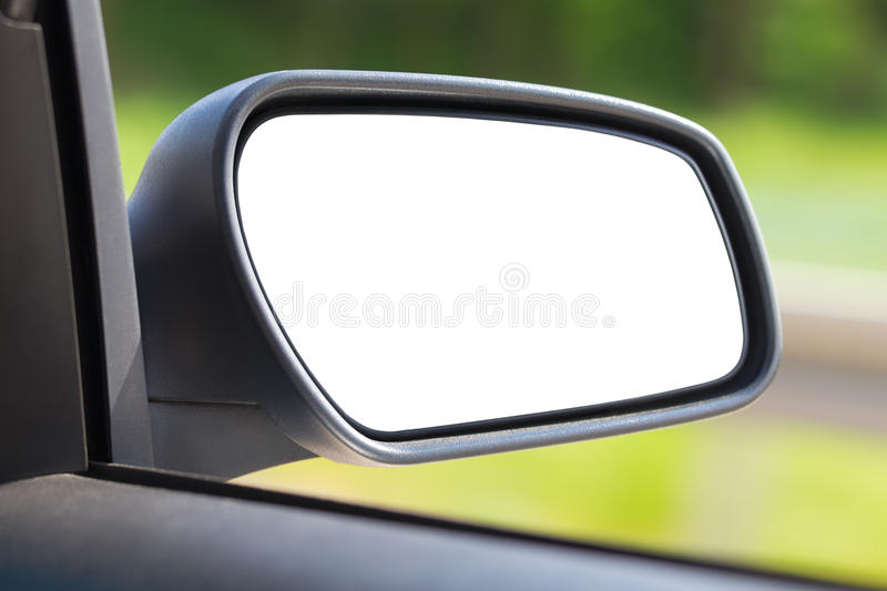 Isolated car mirror. On the road royalty free stock photo