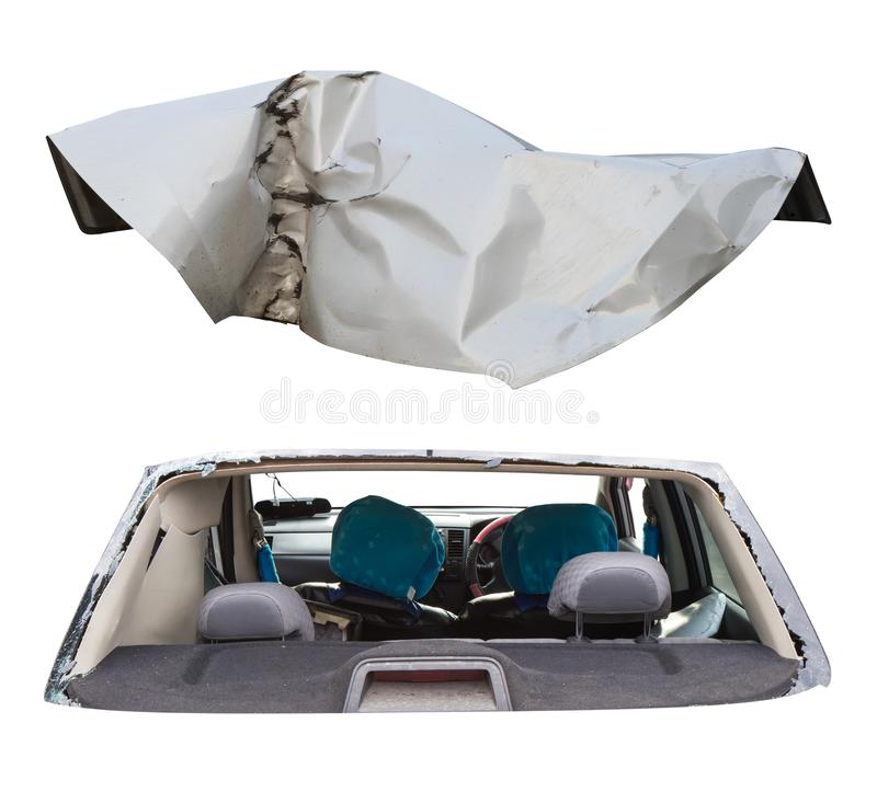Isolate, car bonnet, demolished. Isolated car parts, the interior of the cockpit and the white bonnet which was devastated by an accident stock photo