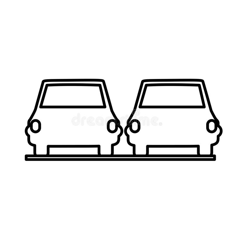 Isolated car road sign design. Car road sign icon. Street information warning and guide theme. Isolated design. Vector illustration royalty free illustration