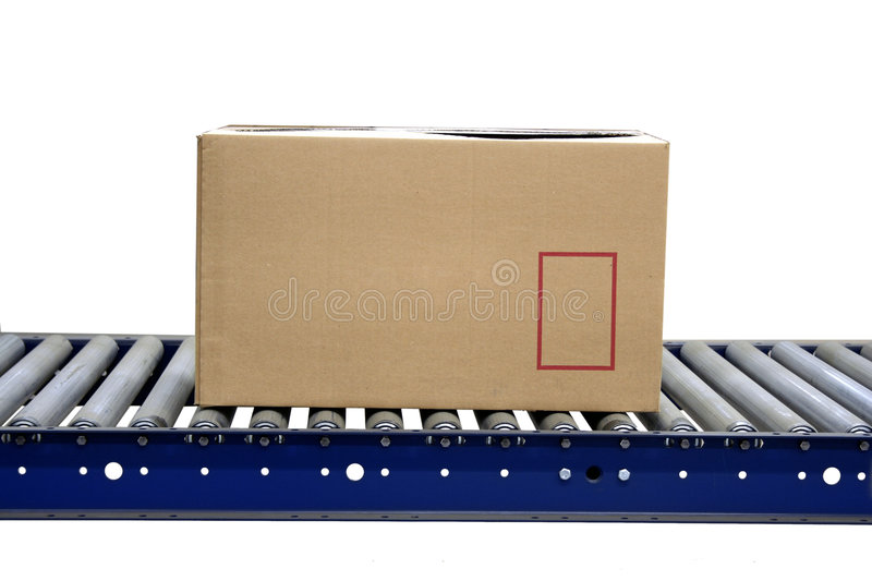 Download Isolated Carton On Conveyor Rollers Stock Photo - Image: 5653288
