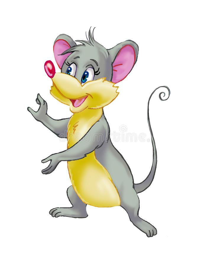 Isolated cartoon art of a funny mouse. Colorful drawing of a cute funny mouse posing on a white background vector illustration
