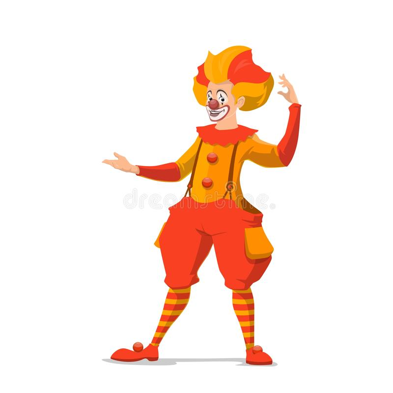 Isolated cartoon circus clown with fake nose. Clown isolated icon, circus show, makeup and fake nose. Vector entertainer or stage performer, comedian and royalty free illustration