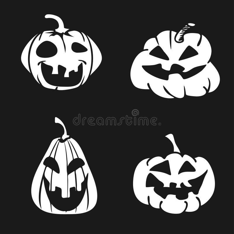 Cartoon Halloween pumpkin face icon stock illustration