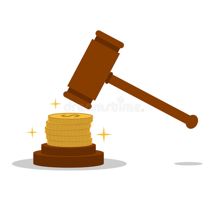 Isolated cartoon law hammer and bribery vector illustration