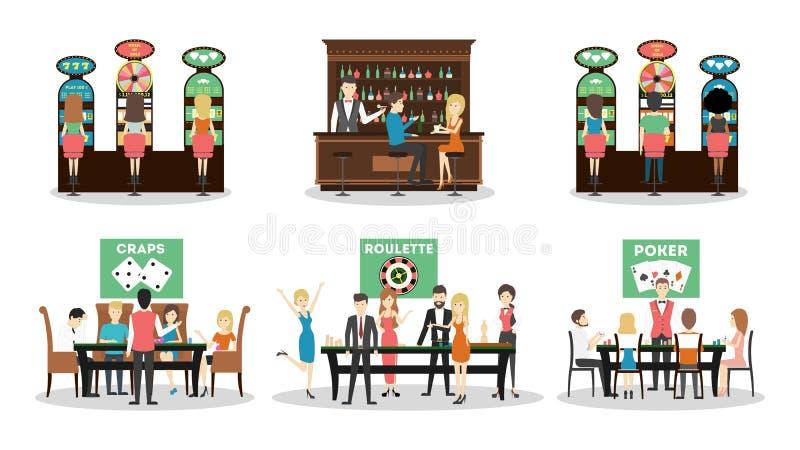 Isolated casino set. Isolated casino set on white background. Craps, roulette and poker. Bar and slot machines stock illustration