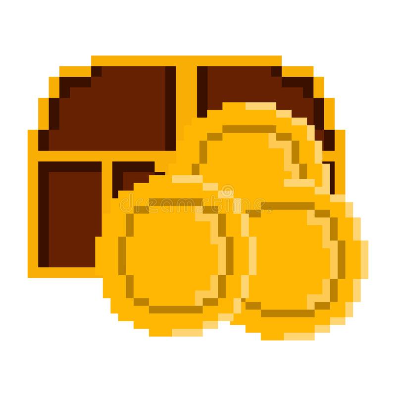 Isolated chest with golden coins pixelated. Vector royalty free illustration