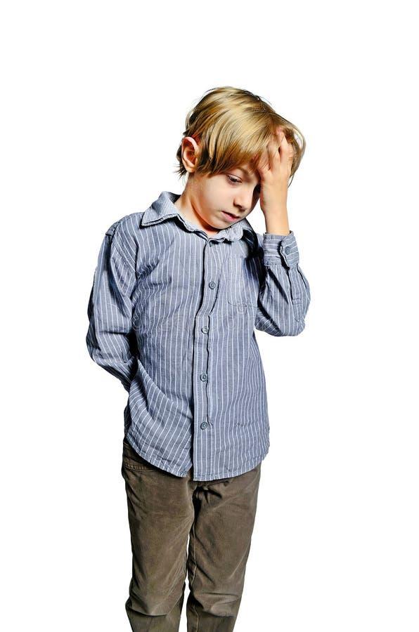 Isolated child upset. Headache unhappy stock photo