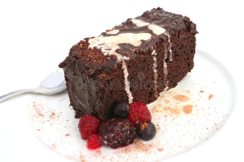 Download Isolated Chocolate Cake And Berries Stock Image - Image of white, rich: 454633