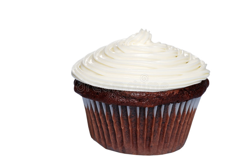 Isolated Chocolate Cupcake With Vanilla Frosting Stock Photos