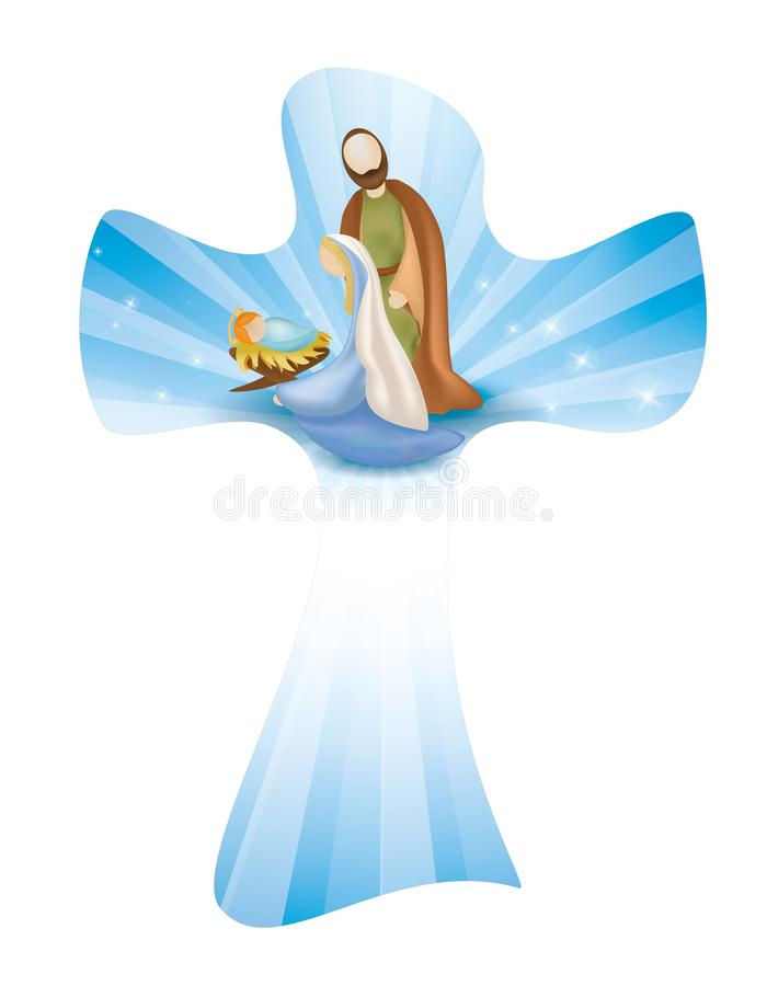 Isolated Christian cross whit nativity scene. Rays on blue background. Vector illustration with isolated Christian cross with nativity scene with Mary, Joseph royalty free illustration